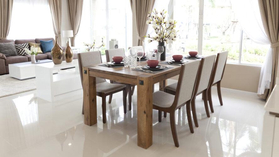 4 modelos de sala de jantar com madeira maciça